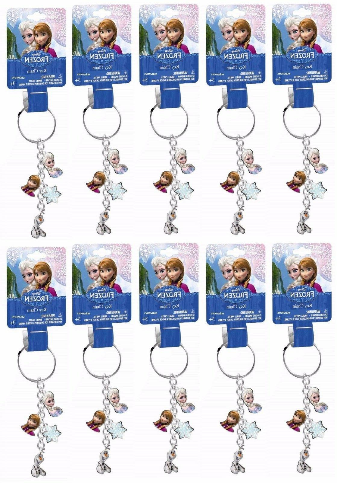 10x Disney Frozen  Anna Elsa Olaf Metal Keychain Charms Part