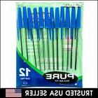 12 Pilot Bazic Stick BLUE Ink Ball 1.0 MM Rollerball Pens Pe