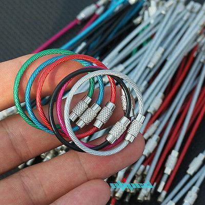 12x 4 stainless steel wire keychain cable
