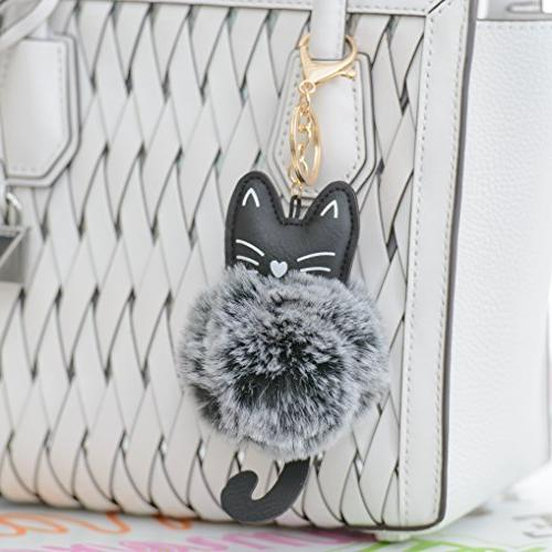 2 Pack Cute Cat Faux Ball Pom Chain Ring for Women Girls Bag