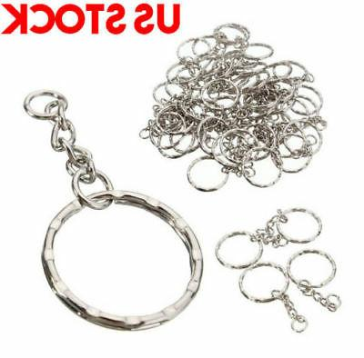 200Pc DIY Polished Silver Ring Short Rings