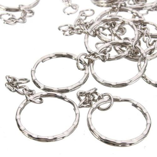 200Pc 25mm Silver Keyring Keychain Split Ring Key Rings