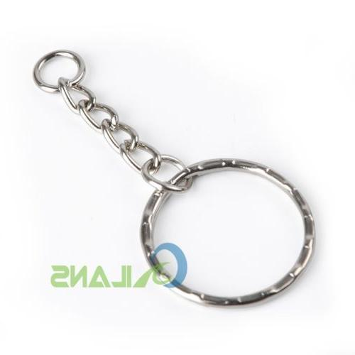 200Pc DIY Polished Silver Keyring Ring Short Rings