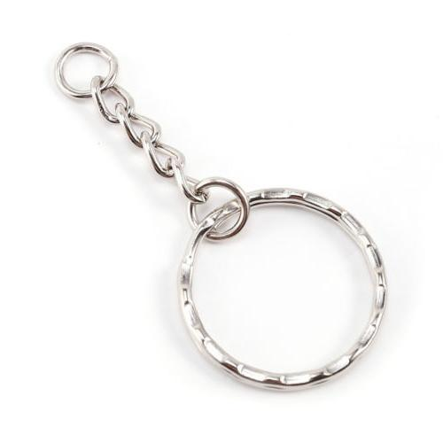 200Pc Polished Silver Keychain Ring Short Rings