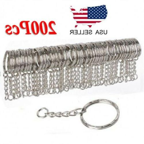 200pc diy 25mm polished silver keyring keychain