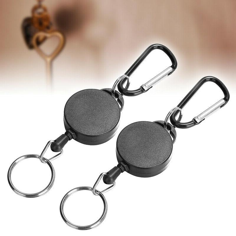 US 2Pcs Retractable Key Chain Recoil Badge Ring Rope