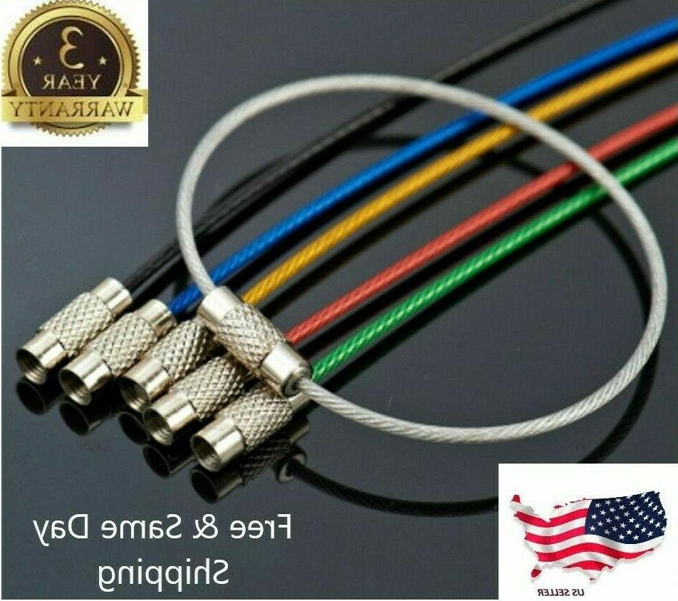 5pcs stainless steel wire keychain cable key