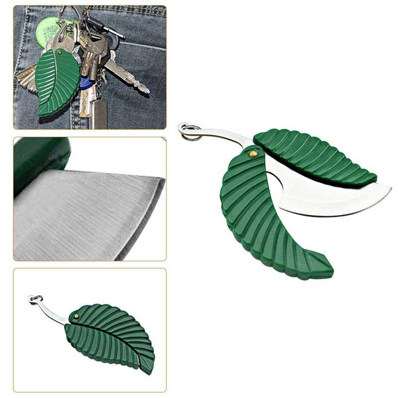Outdoor Camping Portable Stainless Steel Key-chain Leaf Pock