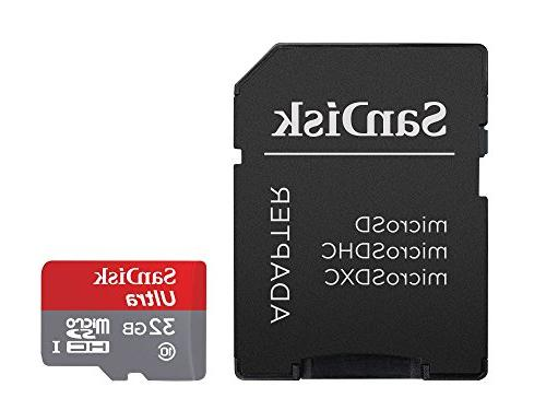 SanDisk Ultra 32GB microSDHC UHS-I Card with Adapter, Grey/R