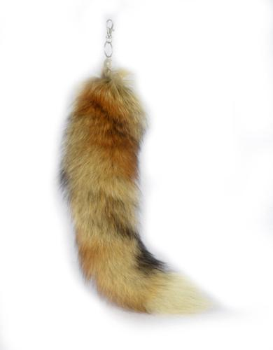 URSFUR Authentic Red Swift Fox Tail Fur Bag Charm Keychain C