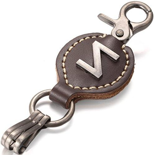 brown leather alphabet keychain single letter