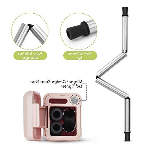 Collapsible Stainless Steel, Folding Foldable Final Portable Set with Case Holder Clea,