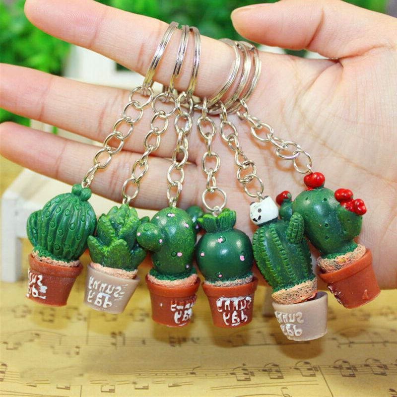cute simulation cactus key ring key chain