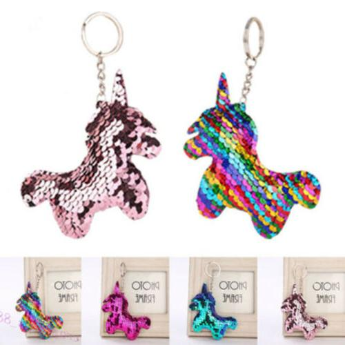 Cute Unicorn Keychain Glitter Pompom Sequins Key Ring for Wo