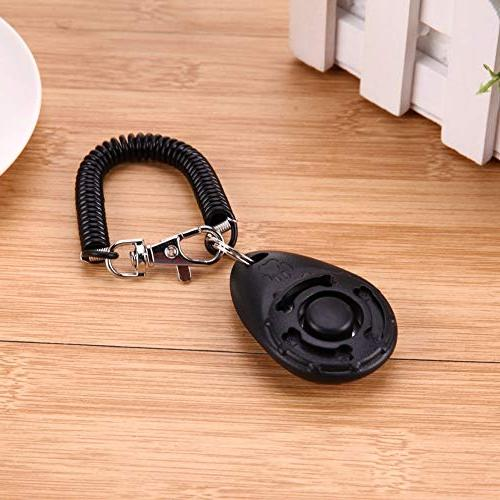 Dog Pet Trainer Training Clicker Adjustable Chain And Strap Doggy Train Click Ring Pink Lot Trainer