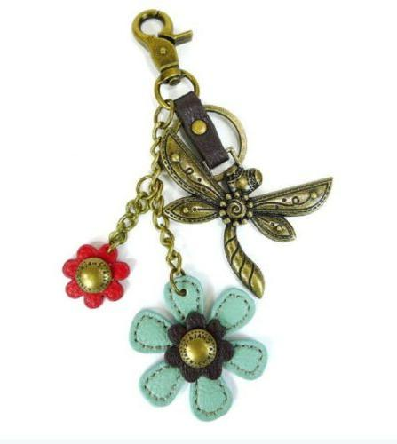 dragonfly with flowers charming key chain purse