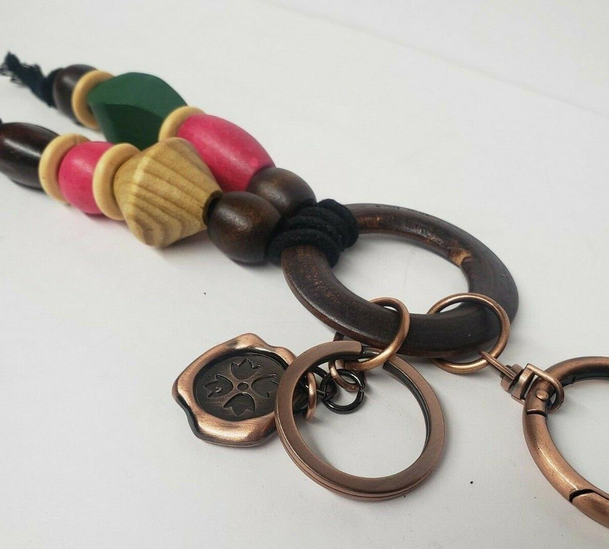 Patricia Multi-Color Wood Beaded KEY CHAIN NWT Z7