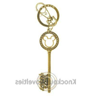Disney Mickey Gold Master Key with Gem Beads Pewter Key Ring