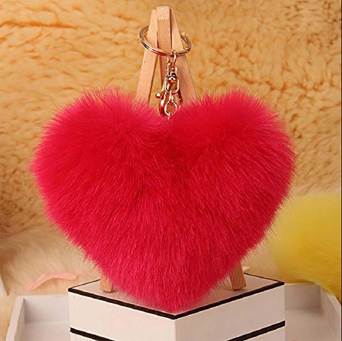 heart shape faux fur ball keychain pom