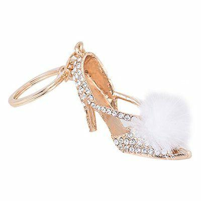 ZOONAI High Heel Shoe Keychain Rhinestone Car Keyring Holder