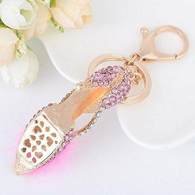 ZOONAI Heel Shoe Keychain Rhinestone Car Holder