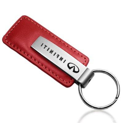 infiniti red leather car key chain official