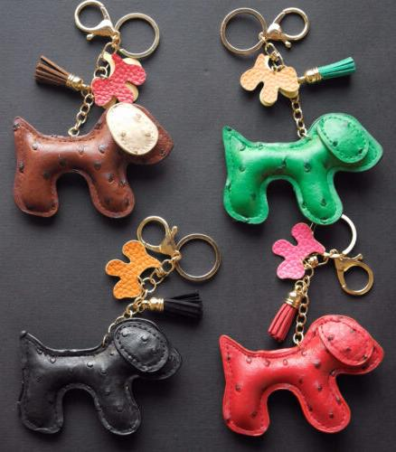ITALY LEATHER DOG CHAIN KEYCHAIN KEYRING BAG DANGLE Backpack