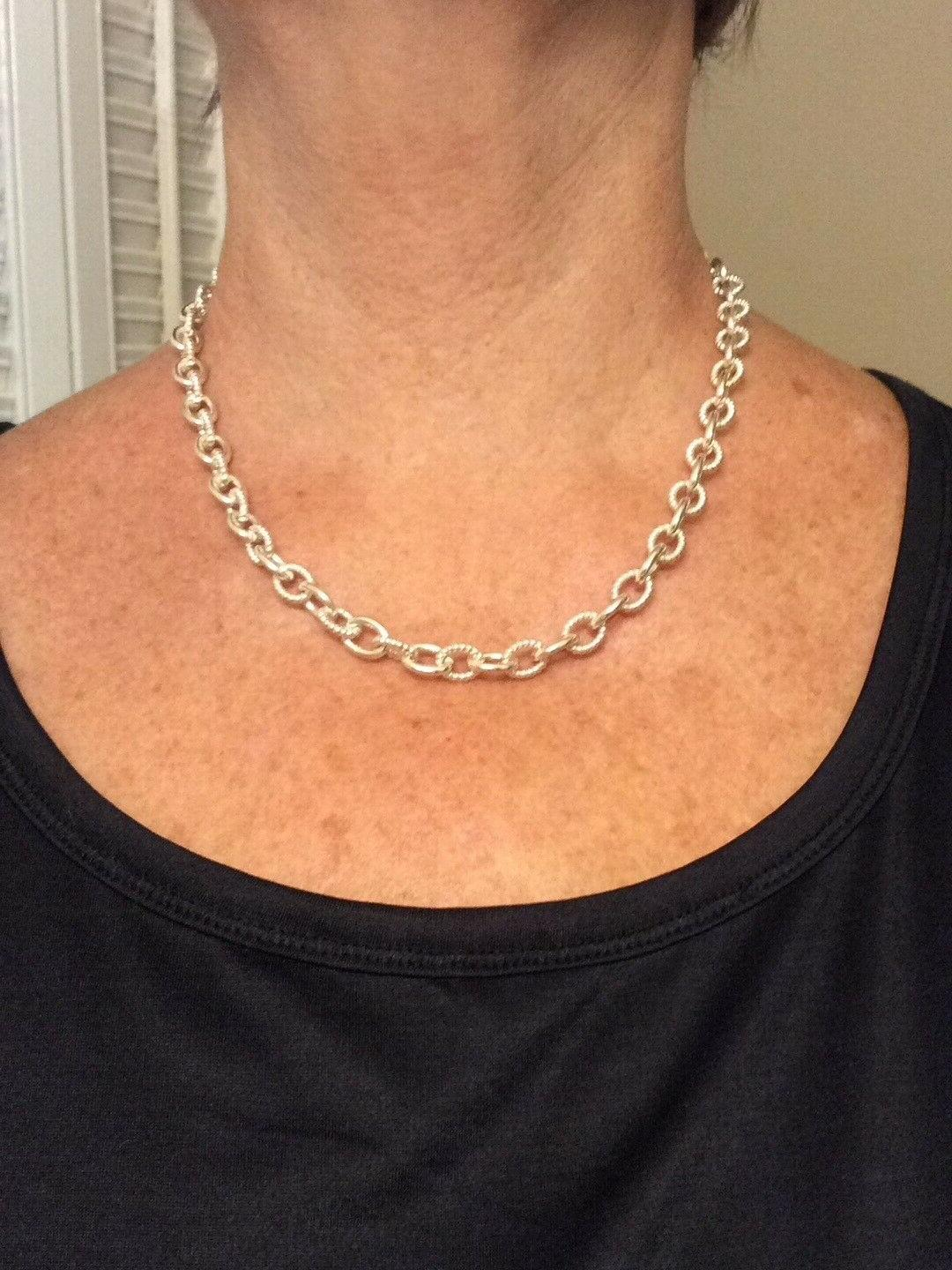 Judith Silver Lock & Key Chain Necklace 18 inches NWOT