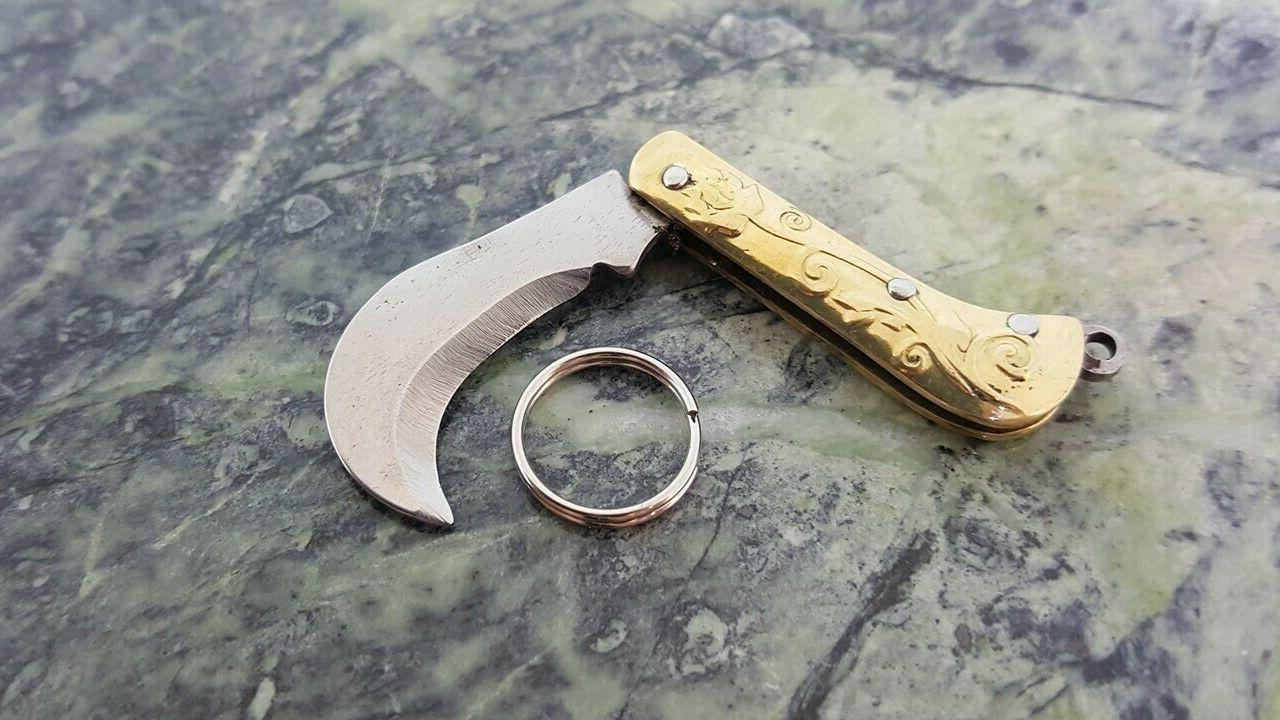 KEY CHAIN Miniature Gold Folding Blade