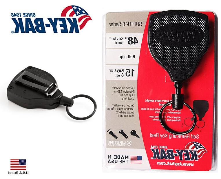 "KEY-BAK Black 48"" KEVLAR Cord SUPER 48 Retractable Key Ring"