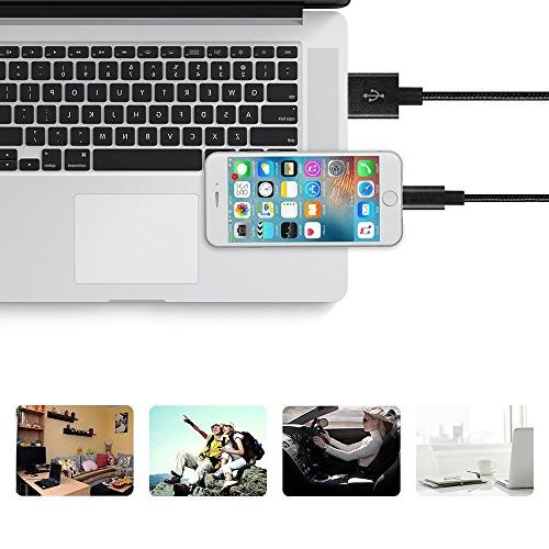 oduey Phone Charger,4Pack 6FT 6FT Phone Plus/SE/5s/5c/5 and more-Black