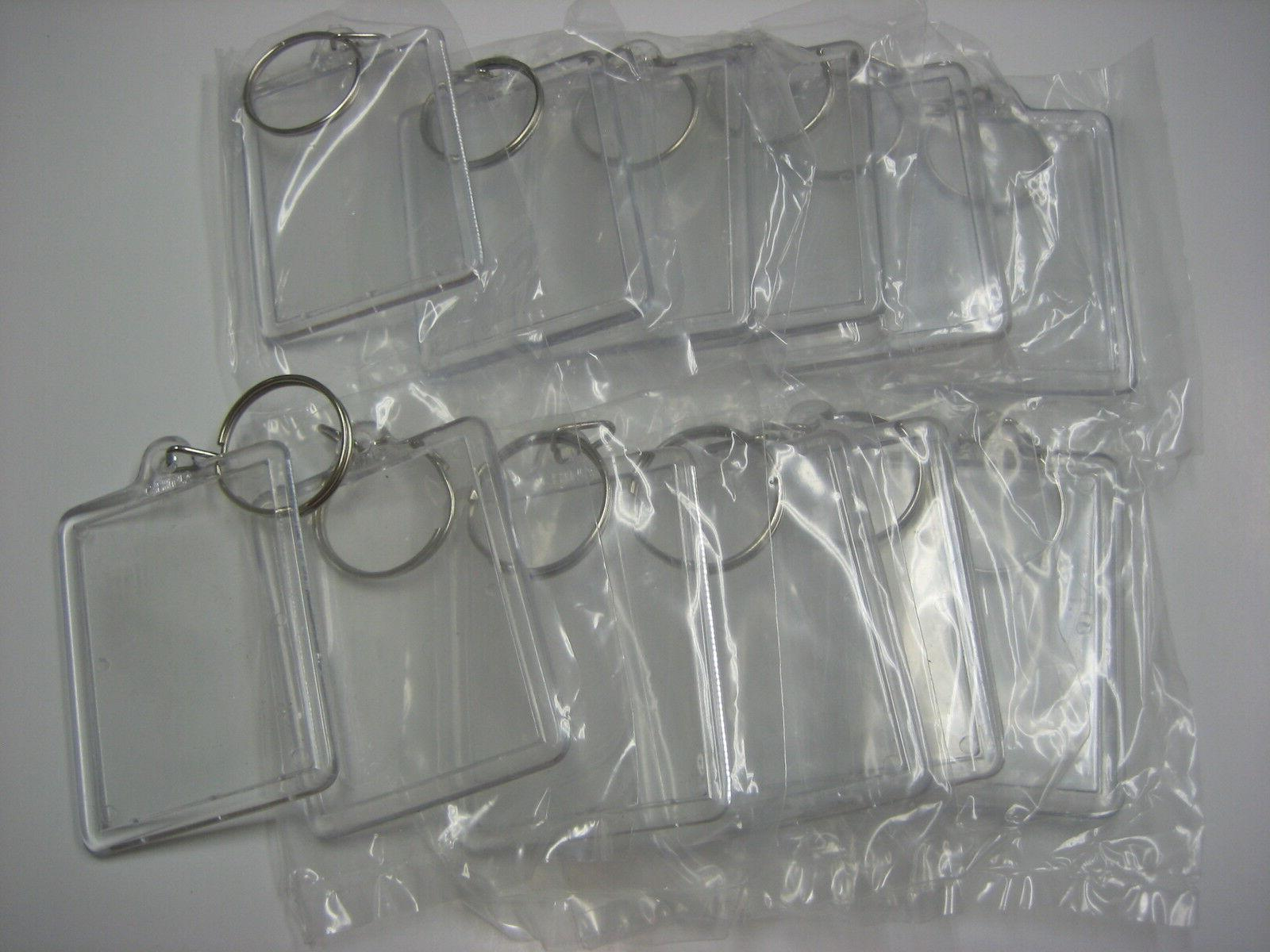 """Lot of 12 Photo Key Chains /  For Photo Size 1 3/8"""" x 2"""" / P"""