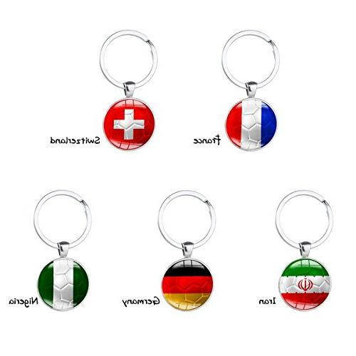Set of Metal Flag Pattern Key for Soccer Match FIFA Fans Gift