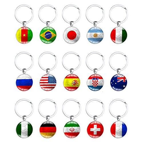 Set of 15 Pcs Metal National Pattern Key Rings for FIFA World Cup Fans