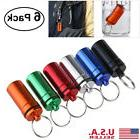 6pcs Mini Waterproof First Aid Container Pill Case Holder Bo