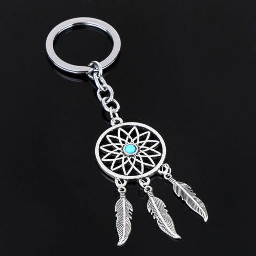 new silver metal key chain ring feather