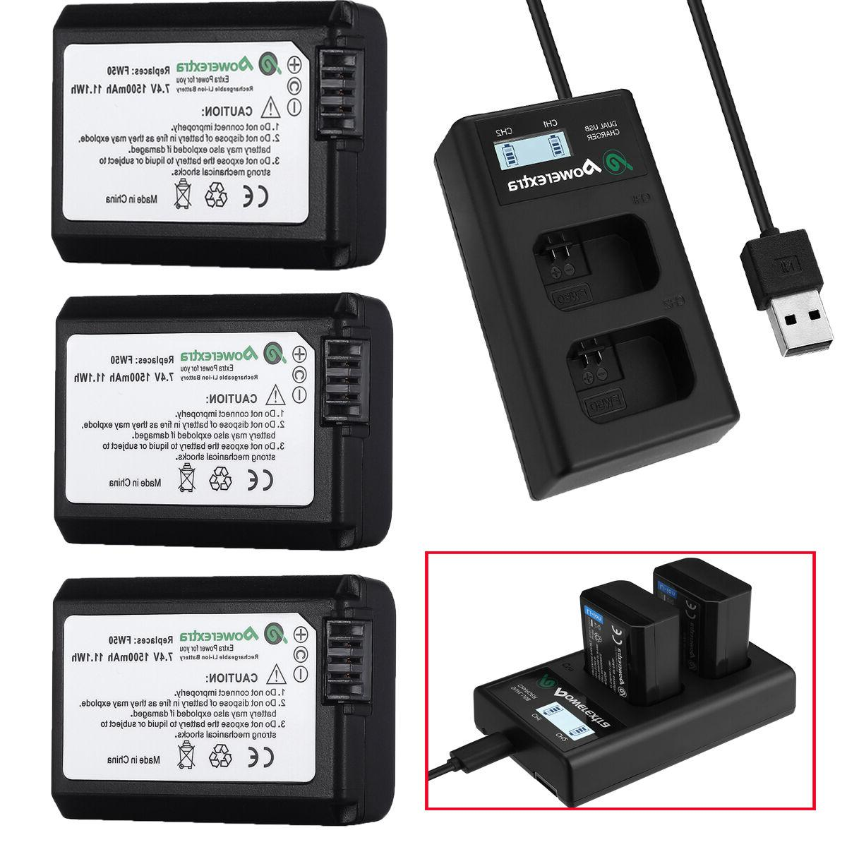 NP-FW50 Battery + LCD Dual Charger For Sony Alpha 7R A6000 A