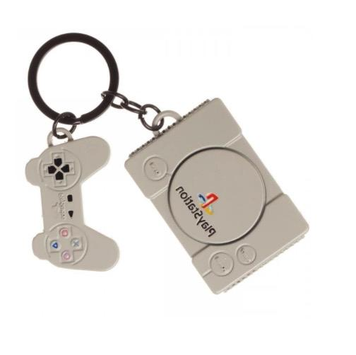 retro playstation console keychain metal officially licensed