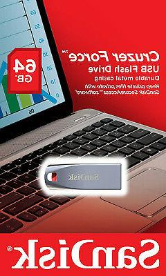 SanDisk 64GB Cruzer Force Flash Drive - USB 2.0 - SDCZ71-064