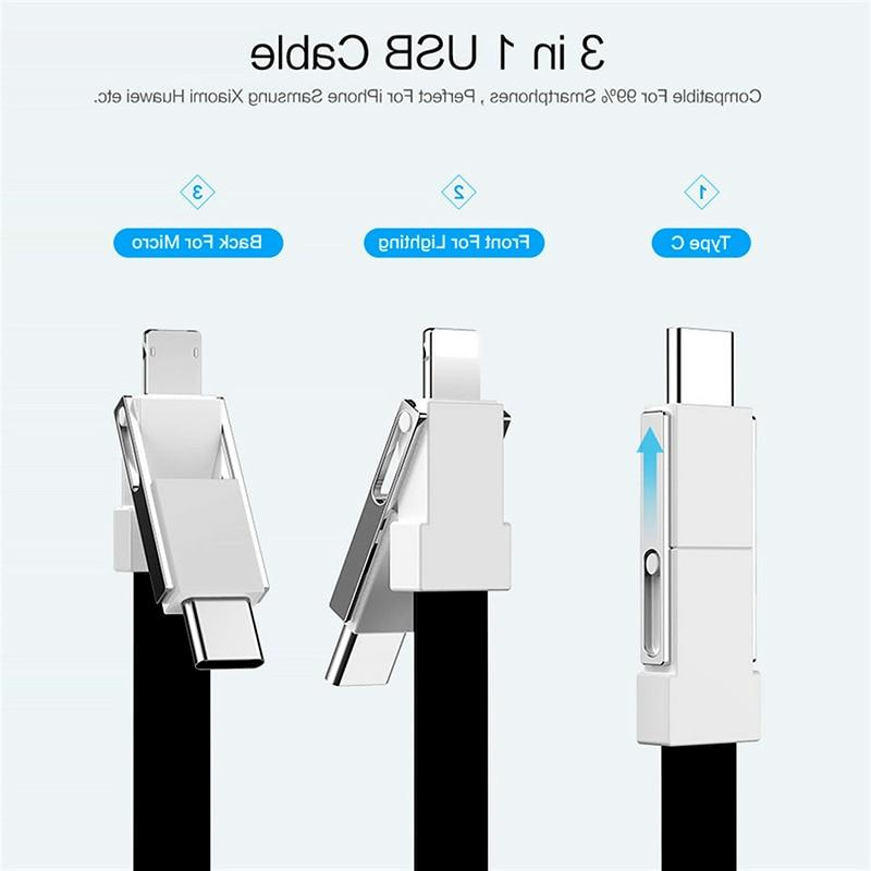 Short keychain USB Magnetic Cable 3in1 Type C For usb-c <font><b>Key</b></font>-<font><b>chain</b></font>