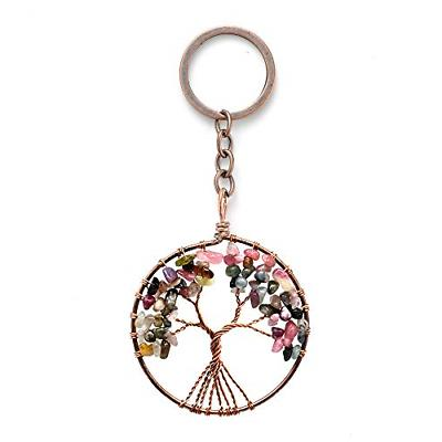 tree of life key chain natural tourmaline