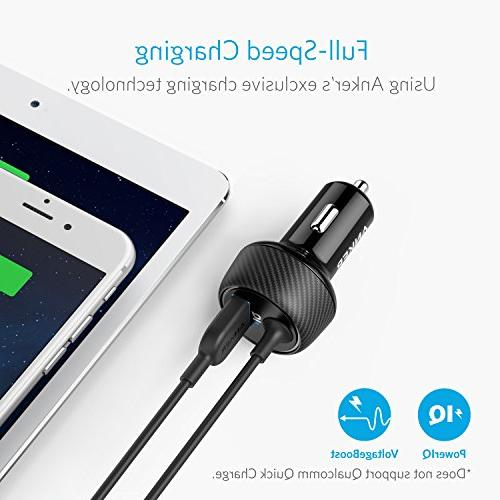Anker 2-Port Car Charger, PowerDrive 2 Elite with 3ft Connector iPhone iPad Air PowerIQ S Series, LG, and