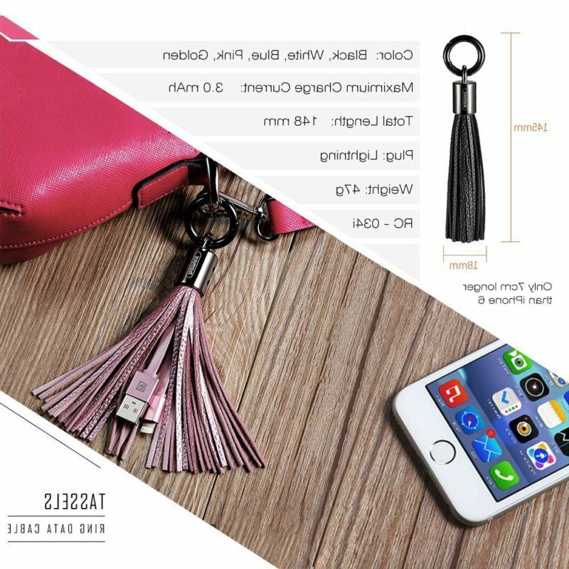 USB Leather Tassel Chain Lightning / to Cable,