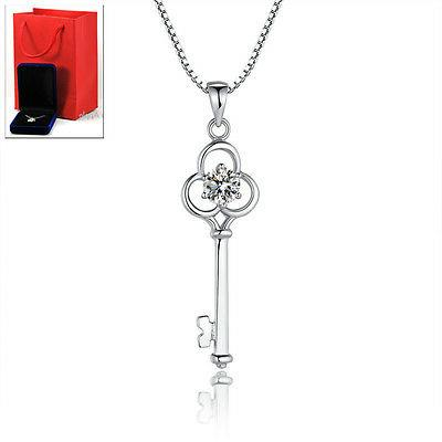 Womens Italy Sterling Silver Necklaces Key Pendants Chains S