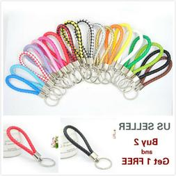 Leather Braided Key Chain Strap Fob Ring Weave Car Home Unis