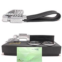 Olivery Leather Valet Key Chain with 4 Detachable Key Rings,