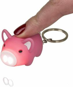 LED Pig Light Up Keyring With Sound Piggy Key Chain Toy Gift