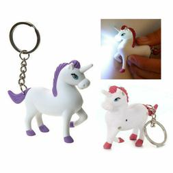 LED UNICORN KEYCHAIN with Light and Sound Cute Horse Noise A