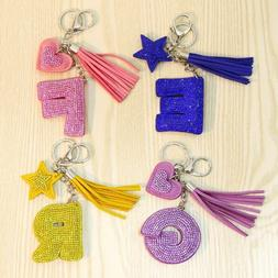 Letter Keychain Women Key Ring Handbag Pendant Charms Chains