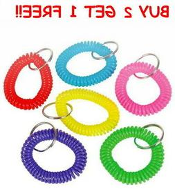 LOT OF 12 SPIRAL KEYCHAINS KEY CHAIN WRIST COIL CHAINS ELAST